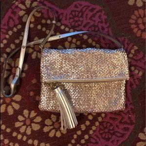 Anya Hindmarch Silver woven crossbody/clutch